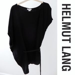 Helmut Lang Asymmetrical Leather-Trimmed Tunic
